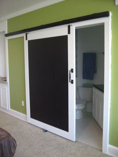 Calkboard Barn Door / Dividing Rec Room and Bath Room
