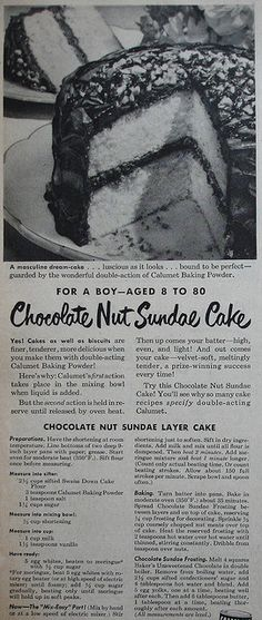 Calumet ad with Chocolate Nut Sundae Cake recipe Country Gentleman - September 1948