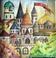 Eriy's Romantic Country Coloring Book - Krustallos Castle /with Derwent Inktense 72 pencils /
