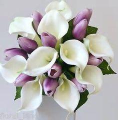 Latex white calla lily purple tulip wedding bouquet posy flower silk flowers - The Wedding Pins Tulip Wedding, Purple Wedding Bouquets, Bridal Flowers, Silk Flowers, Bridesmaid Bouquets, Bridesmaids, Lilies Flowers, Lavender Bridesmaid, Bridal Bouquets