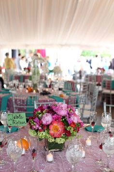 Colorful & bright flower floral centerpieces from Amanda & Sonny's vintage garden wedding in Maryland. Images via Megan Beth Photography.