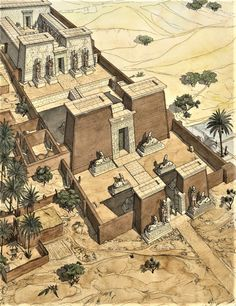 J.C. Golvin - Ouadi es-seboua Ancient Egyptian Architecture, Architecture Antique, Sacred Architecture, Ancient Egyptian Art, Historical Architecture, Life In Ancient Egypt, Ancient Aliens, Ancient Greece, Ancient History