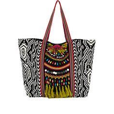 Black tribal print embellished tote bag - shopper / tote bags - bags / purses - women