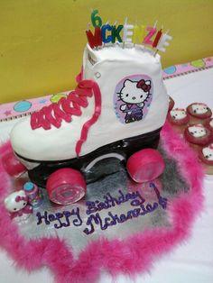 Hello Kitty Roller skate cake.