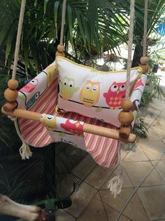 handmade canvas baby swing with coordinating pillow *little owls * perfect first birthday gift! on Etsy, $164.74