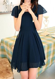 Stylish Women's Scoop Neck Solid Color Short Sleeve Chiffon Dress