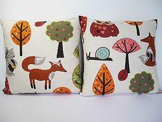 Woodland Animals Vintage Retro Fox Owl Bird kids childrens fabric Cushion Cover