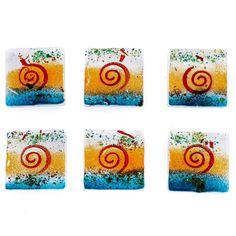 Square Coaster Set of Handmade Fused Glass Decorative Drink Serving Holder, Orange Spiral Design Handmade Kitchens, Drink Coasters, Coaster Set, Fused Glass, Utensils, Orange Color, Spiral, Kitchen Decor, Great Gifts