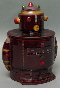 Vintage Japan Ceramic Clock Robot Cookie Jar
