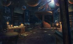 Space Ambient/Beatless/Chill Mix (Therapist - The Last Astronomer) Fantasy Places, Fantasy World, Fantasy Concept Art, Fantasy Art, Hogwarts, Chill Mix, Astronomical Observatory, Bg Design, Fantasy Setting
