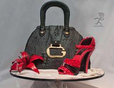 Crocodile Skin Guess Handbag with Pink Versace Ruffle Stiletto