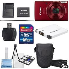 Canon PowerShot ELPH 190 IS Digital Camera (Red) with 10x Optical Zoom and Built-In Wi-Fi with 16GB SDHC + Replacement battery + Protective camera case Along with Deluxe Cleaning Bundle http://cameras.henryhstevens.com/shop/canon-powershot-elph-190-is-digital-camera-with-10x-optical-zoom-and-built-in-wi-fi-with-deluxe-bundle/?attribute_pa_size=16gb&attribute_pa_color=red&attribute_pa_customerpackagetype=original https://images-na.ssl-images-amazon.com/images/I/51rGDYxhpQL.jp