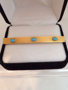Estate Find 14k Gold Sleeping Beauty Art Deco Era Bar Pin Adorned with Triple Turquoise Cabochons Antique C Clasp Elegance  By Design