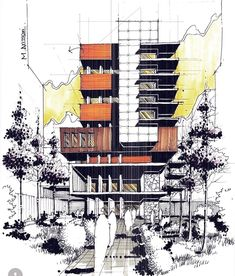 Interesting Find A Career In Architecture Ideas. Admirable Find A Career In Architecture Ideas. Architecture Design, Architecture Concept Drawings, Architecture Sketchbook, Architecture Student, Building Sketch, House Sketch, Modern Buildings, Construction, Sketch Drawing