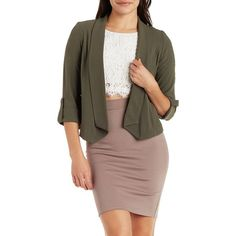 Charlotte Russe Cuffed Sleeve Open Front Blazer ($15) ❤ liked on Polyvore featuring outerwear, jackets, blazers, olive, open front blazer, olive green blazer, three quarter sleeve blazer, drapey blazer and draped blazer