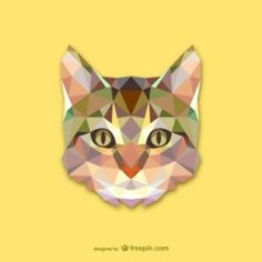 A geometric cat wall sticker from Freepik. Colourful cat's face decal to show off your love of the best pets in the world!