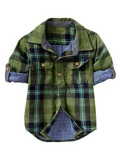 Convertible plaid double-weave shirt | Gap