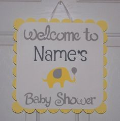 Personalized Elephant Door Sign Elephant Baby by APaperPlayground