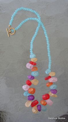 "18"" beaded necklace. Crackled glass & Swarovski crystals."