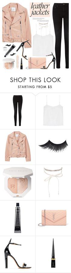 """Leather Jackets"" by mylkbar ❤ liked on Polyvore featuring Pieces, T By Alexander Wang, MANGO, nOir, Yves Saint Laurent, Francesco Russo, Christian Louboutin and leatherjackets"