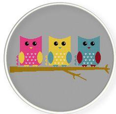 Buy 4 get 1 free ,Buy 6 get 2 free,Cross stitch pattern, PDF,three owls ,ZXXC0277. $4.00, via Etsy.