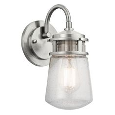 "1 Light Outdoor Sconce by Kichler KI17815  $95.70 / 11.25"" H x 5"" W x 5"" D / Brushed Aluminum"