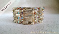 Create a striking bracelet with a light and airy feel but with lots of sparkle. This pattern contains 9 pages of instructions in pdf with full-color illustrations to guide you along. This design is intermediate-advanced. Youll need to be proficient in tubular and flat herringbone.