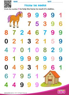 Printable math identify numbers for preschoolers & kindergarten. Kids will be able to circle (or) draw the line on specified numbers to make an animal (or) a bird reaches it's destination. Learning Numbers Preschool, Number Worksheets Kindergarten, Preschool Names, Learning To Write, Math For Kids, Fun Math, Numbers For Kids, Draw, Animal