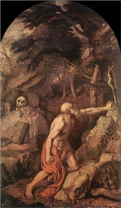 St Jerome c. 1560 Oil on canvas, 235 x 125 cm Pinacoteca di Brera, Milan St Jerome, Italian Painters, Italian Artist, Republic Of Venice, High Renaissance, Landscape Background, European Paintings, Art Database, Religious Art