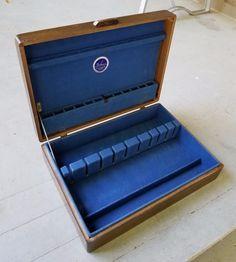 Vintage Wood Blue Anti Tarnish Felt Silverware Flatware Storage Box Case  Chest