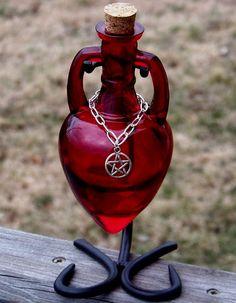 Blood Red Amphora Magic Potion Bottle