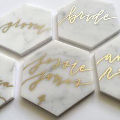 These white marble hexagon tiles are the perfect addition to your elegant wedding, or event. Perfect for escort cards, table numbers, or gifts. Each tile is calligraphed by hand, according to your needs. Each tile measures roughly 3 x 3 1/4 and costs $3.00, including your guest name and table number in your ink color of choice. The minimum order is 50 tiles, however, a smaller quantity may be purchased at a higher cost per tile. If you are interested in ordering, please do not purchase…