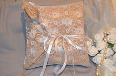 Hessian Ring Cushion Wedding Lace Ribbon Bridal by SeaSunrays, £11.99