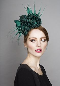 Rachel Trevor Morgan Millinery  Autumn Winter 2015 R15W1 Deep teal flower and claw feather headdress