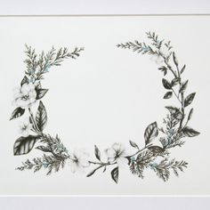 Floral Wreath 8x10 Giclee Print by BurrowingHome on Etsy