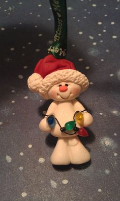 Items similar to Polymer Clay SNOWMAN with Lights Ornament on Etsy. , via Etsy.