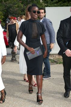 lupita-paris-couture-fashion-week-black-dress-elegant-cocktail-party-wedding-party-summer-platforms-sheer-