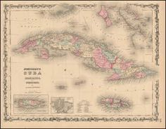 Cuba Jamaica Antique Map Johnson 1862. Cuba and Jamaica antique map original. This vintage map of Cuba and Jamaica comes from the 1862 Johnson's New Illustrated Family Atlas. Published by Johnson and Browning successors to J.H. Colton & Co. at No. 86 Cedar Street New York, NY in 1862. This one of a kind historic old map of Cuba and Jamaica is done in the distinctive Johnson style with decorative borders and finely etched topical vignettes.