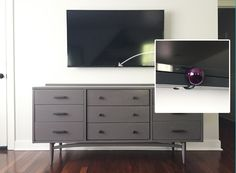 How to hide tv wires for a cord-free wall young house love Hide Cable Box, Hide Cables, Young House Love, Hide Tv Wires, Hiding Tv Cords On Wall, Wall Mount Tv Stand, Swivel Tv Stand, Hidden Tv, Flat Panel Tv