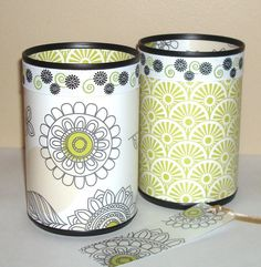 chevron and floral desk accessory set in steely gray blue and gold