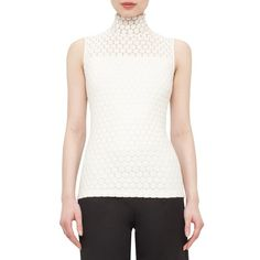 Akris punto St. Gallen Embroidered Cotton Blend Top ($495) ❤ liked on Polyvore featuring tops, cream, sleeveless jersey, white top, sheer top, cream sleeveless top and cream top