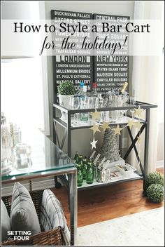 Looking for ways to style your bar cart for Christmas? See my 8 decorating tips on How To Style A Bar Cart For The holidays! Including festive ideas for bar ware, glassware, alcoholic and non alcoholic beverages and decor too!