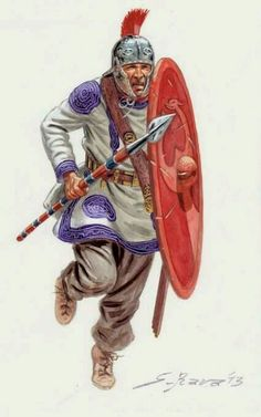 A Roman file leader of the fourth century. This legionary has a crest on his helmet, by this time no longer a sign of rank, and carries a later style oval shield. His weapons of choice are a spatha and a spear. His helmet is of Intercisa type. Military Art, Military History, Ancient Rome, Ancient History, Roman Warriors, Roman Legion, Empire Romain, Roman Era, Roman Soldiers