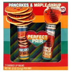 Pancakes and syrup... pancakes and syrup. Pancakes and syrup, it's breakfast time! Our Pancakes and Syrup Lip Balm Duo will let you celebrate the best meal of the day, any time you please! Wanna know how it stacks up to the rest? Try it for yourself or butter up your BFF or BAE with this sickeningly sweet gift! Guaranteed to not give them the crepes. Includes two tubes of perfectly paired flavored lip balms. Each tube measures approximately 2.5 inches long. 3.4g. I rub my tummy, yum...
