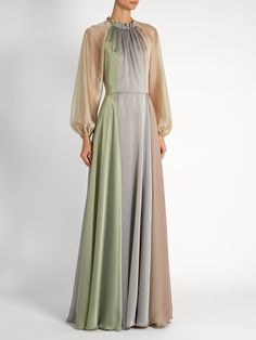 Balloon-sleeved chiffon gown | luisa beccaria | MATCHESFASHION.COM UK