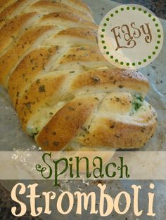 Easy Spinach Stromboli~ 1 recipe of pizza dough (or 1 loaf frozen bread dough, thawed), 1 pkg. Stouffers Spinach Souffle, 1 ½ c. grated mozarella cheese, 1 egg, beaten + 1 T. water.