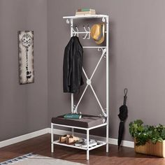 Entryway Storage Rack Bench Seat, White
