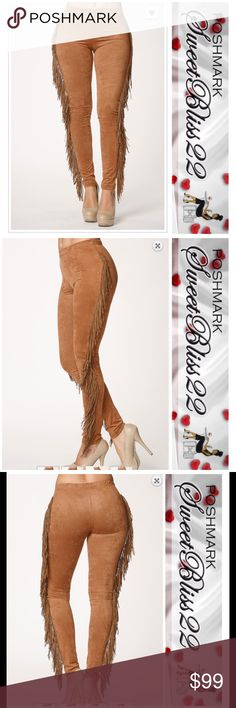 COMING SOON $38 Suede Fringe Leggings Calling all fashionistas! This is your must have item this Fall/Winter! Wear it with your heels, or boots! Don't miss out! Pants Leggings