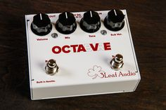 3Leaf Audio Octabvre from Coast Sonic. The latest creation from 3Leaf Audio; The Octabvre - a dual mode analog octaver! Heavy duty folded steel construction, hand made in Seattle, WA. Combining the sounds of a Boss OC-2 with a separate footswitch to control the sub octave creating the sound of the famed Mutron Octave.