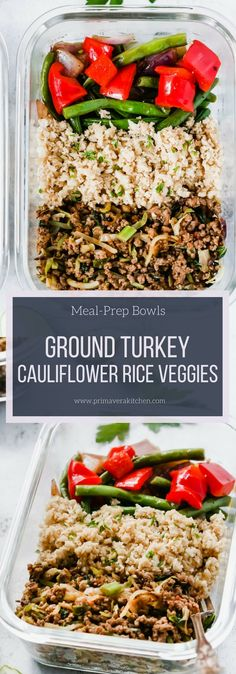 Healthy Meals Ground Turkey Cauliflower Rice Veggie Bowls (Meal-Prep) - Primavera Kitchen - I have an easy, flavourful and low-carb Ground Turkey Cauliflower Rice Veggie Bowls for you today. It's loaded with veggies and extra-lean protein. Lunch Meal Prep, Meal Prep Bowls, Healthy Meal Prep, Healthy Drinks, Veggie Meal Prep, Nutrition Drinks, Simple Meal Prep, Meal Prep Low Carb, Veggie Lunch Ideas